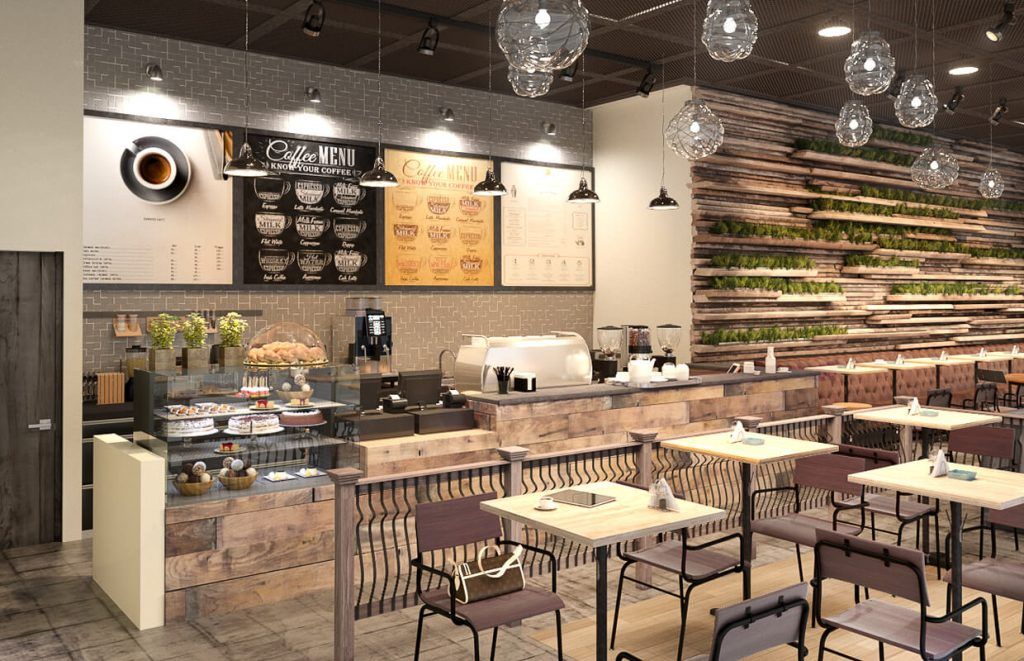 Rustic cafe interior displays