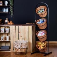 Rustic 4 Tier Metal Basket display stand