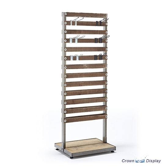 Rustic Double Sided Slatted Shelving Unit