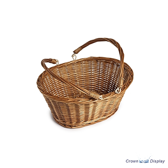 Rustic Wicker Shopping Basket with Folding Handles