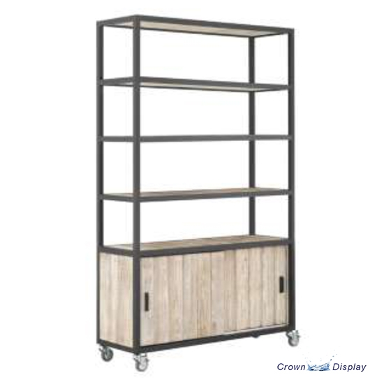 Framed Shelving Unit with Real Washed Wood Finish