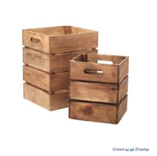 Wooden Tall Crates (set of 2)
