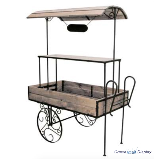 Wooden Display Cart with Canopy