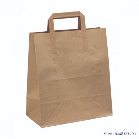 Value Brown Paper Bag with Flat Handle (pack of 100)