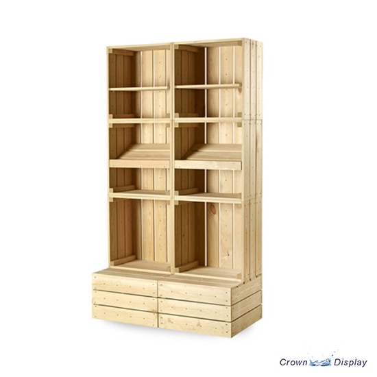 Rustic Double wholefood Crate Display Unit