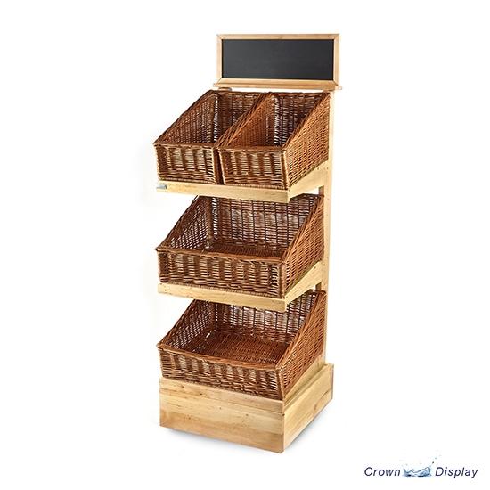 Rustic 3 Tier Wooden Basket Display Stand