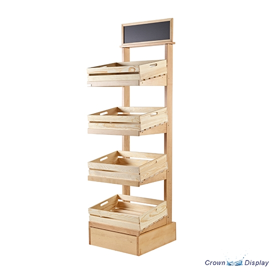 Rustic 4 Tier Display Stand with Crates