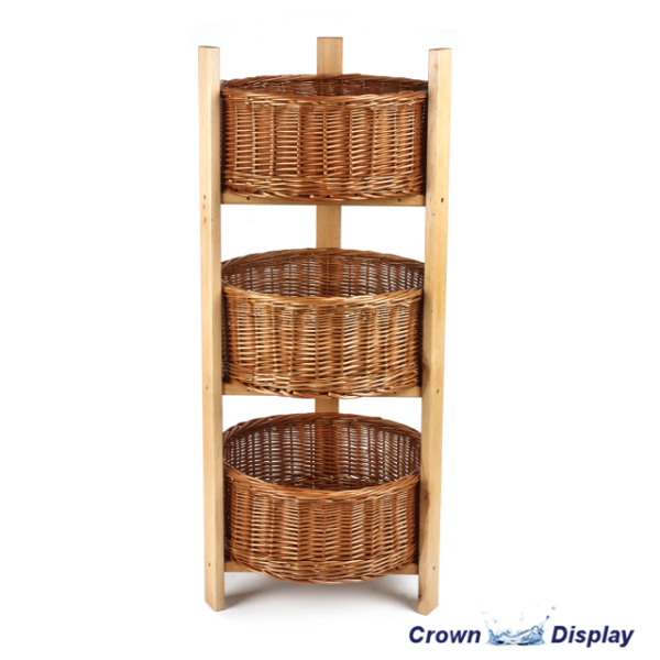 Rustic Circular 3 Tier Basket Display Stand