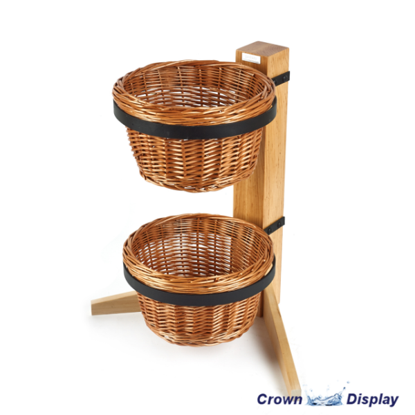Rustic 2 Tier Round Basket Display Stand