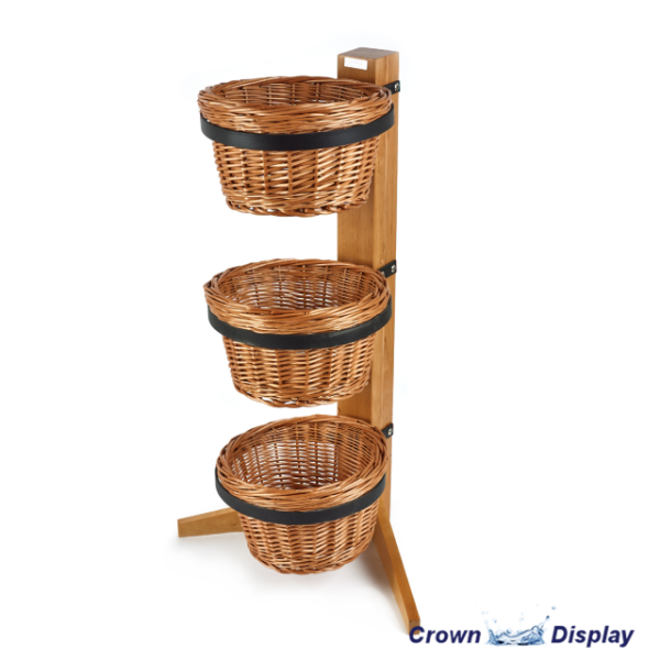 Rustic 3 Tier Round Basket Display Stand