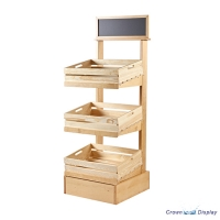 Rustic 3 Tier Display Stand with Crates